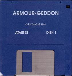 Artwork on the Disc for Armour-Geddon on the Atari ST.