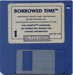Artwork on the Disc for Borrowed Time on the Atari ST.