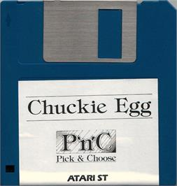 Artwork on the Disc for Chuckie Egg on the Atari ST.