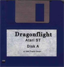 Artwork on the Disc for Dragonflight on the Atari ST.