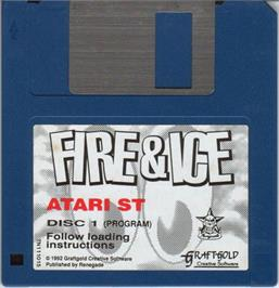 Artwork on the Disc for Fire and Ice on the Atari ST.