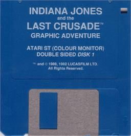 Artwork on the Disc for Indiana Jones and the Last Crusade: The Action Game on the Atari ST.