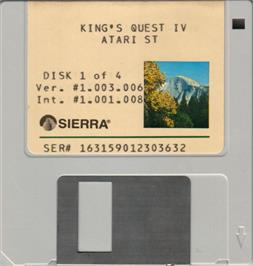Artwork on the Disc for King's Quest IV: The Perils of Rosella on the Atari ST.