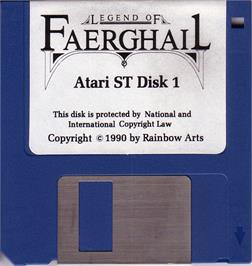 Artwork on the Disc for Legend of Faerghail on the Atari ST.