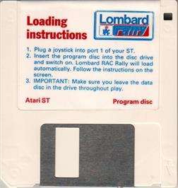 Artwork on the Disc for Lombard RAC Rally on the Atari ST.