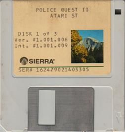 Artwork on the Disc for Police Quest 2: The Vengeance on the Atari ST.