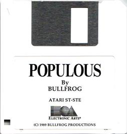 Artwork on the Disc for Populous on the Atari ST.