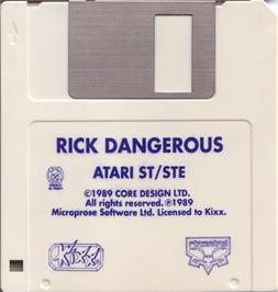 Artwork on the Disc for Rick Dangerous on the Atari ST.