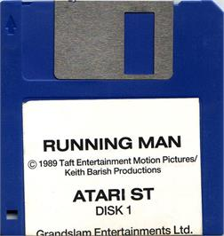 Artwork on the Disc for Running Man on the Atari ST.
