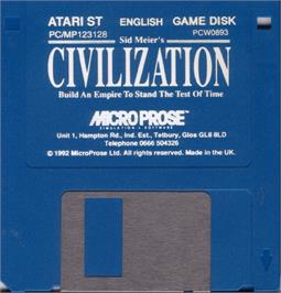 Artwork on the Disc for Sid Meier's Civilization on the Atari ST.