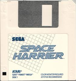 Artwork on the Disc for Space Harrier on the Atari ST.