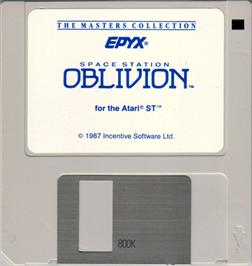 Artwork on the Disc for Space Station Oblivion on the Atari ST.