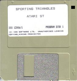 Artwork on the Disc for Sporting Triangles on the Atari ST.