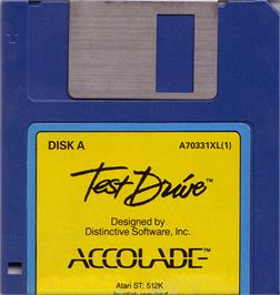 Artwork on the Disc for Test Drive on the Atari ST.