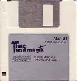 Artwork on the Disc for Time and Magik: The Trilogy on the Atari ST.