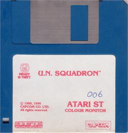 Artwork on the Disc for U.N. Squadron on the Atari ST.