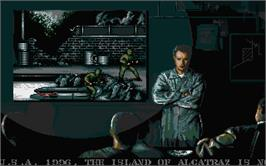 In game image of Alcatraz on the Atari ST.