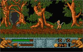 In game image of Barbarian 2 on the Atari ST.