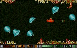 In game image of Blood Money on the Atari ST.