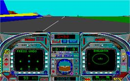 In game image of Blue Angels: Formation Flight Simulation on the Atari ST.