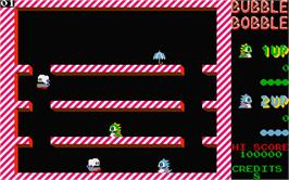 In game image of Bubble Bobble on the Atari ST.