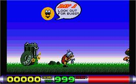 In game image of Bug Bash on the Atari ST.