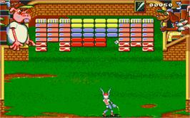 In game image of Bunny Bricks on the Atari ST.