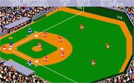 In game image of Championship Baseball on the Atari ST.