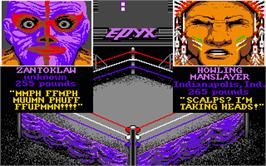In game image of Championship Wrestling on the Atari ST.