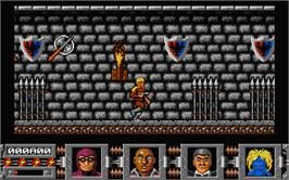 In game image of Defenders of the Earth on the Atari ST.