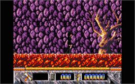 In game image of Elvira: The Arcade Game on the Atari ST.