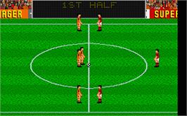In game image of Emlyn Hughes International Soccer on the Atari ST.