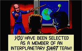 In game image of Escape from the Planet of the Robot Monsters on the Atari ST.