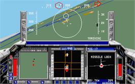 In game image of F-15 Strike Eagle 2 on the Atari ST.