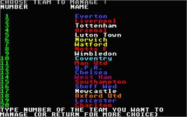 In game image of Football Manager on the Atari ST.