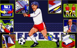 In game image of Graeme Souness Soccer Manager on the Atari ST.