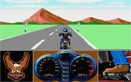 In game image of Harley-Davidson: The Road to Sturgis on the Atari ST.
