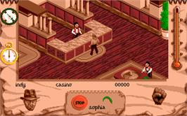 In game image of Indiana Jones and the Fate of Atlantis on the Atari ST.