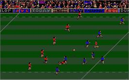 In game image of International Rugby Simulator on the Atari ST.