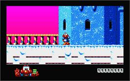 In game image of James Pond 2: Codename: RoboCod on the Atari ST.