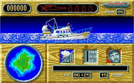 In game image of Jaws on the Atari ST.