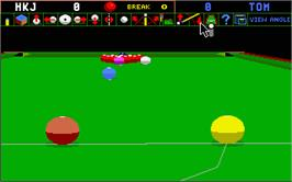 In game image of Jimmy White's Whirlwind Snooker on the Atari ST.