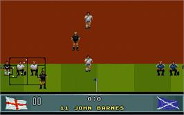 In game image of John Barnes' European Football on the Atari ST.