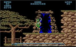 In game image of Leander on the Atari ST.