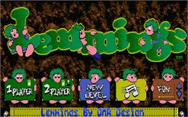 In game image of Lemmings on the Atari ST.