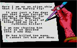 In game image of Manhunter: San Francisco on the Atari ST.
