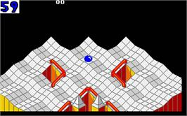 In game image of Marble Madness on the Atari ST.