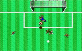 In game image of Microprose Pro Soccer on the Atari ST.