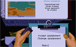In game image of Mig-29 Soviet Fighter on the Atari ST.