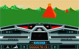 In game image of Moon Blaster on the Atari ST.